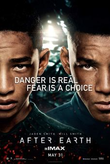 Movie poster for After Earth. Half of Will Smith's and Jaden Smith's faces looking directly into camera