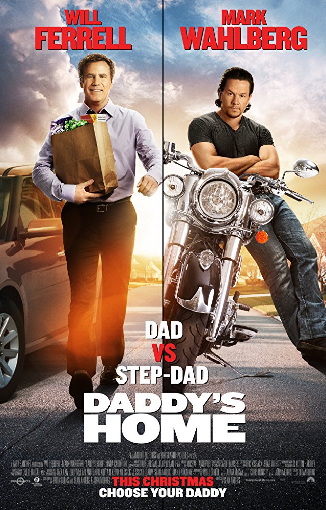 split screen movie poster with Will Ferrell in office attire standing next to car and holding bag of groceries on left and on right Mark Wahlberg wearing black t-shirt and jeans leaning against motorcycle with arms crossed