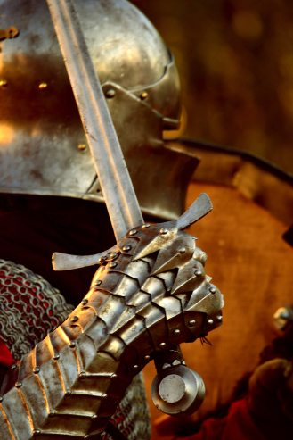 Golden-bronze armor from right side view. Gauntlet right hand holding sword at shoulder. Chain mail just visible.