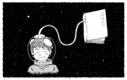 Line drawing of short haired astronaut child attached to a book by helmet tube. Child's eyes are closed.