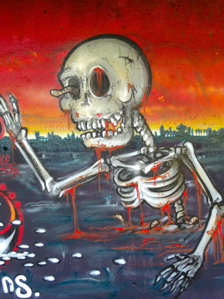 Illustrated skeleton from waist up in dark liquid from waist down, with right arm raised and worm sticking out of right eye socket. Reddish sky and dark skyline in background.