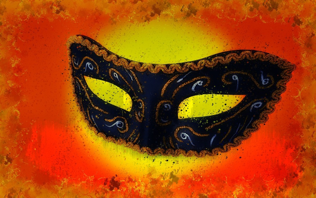 illustration of a black and gold masquerade mask on yelloa and orange background