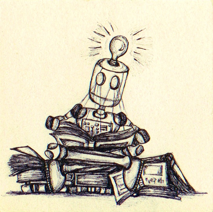 line drawing of robot reading a book while sitting on a pile of books with a lightbulb on his head