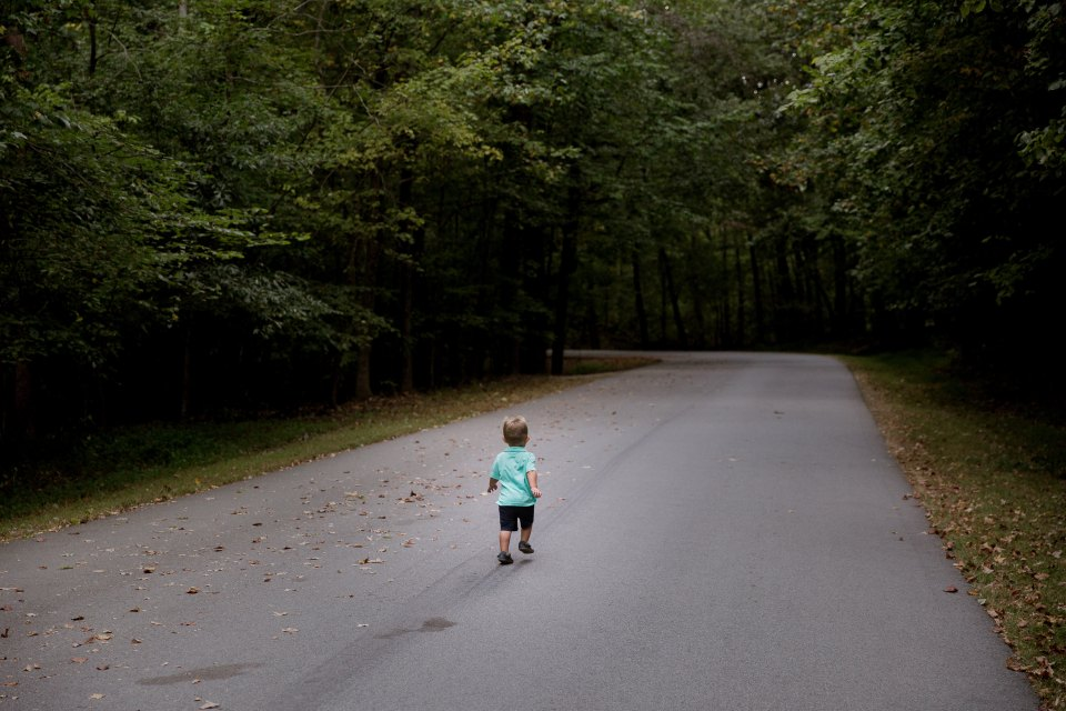 toddler walking on empty forest road away from camera