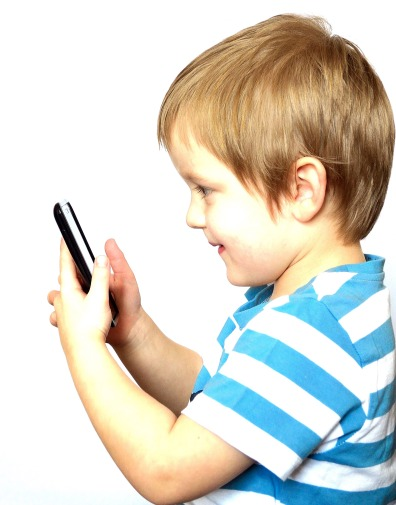 young boy in blue and white striped shirt looking at phone