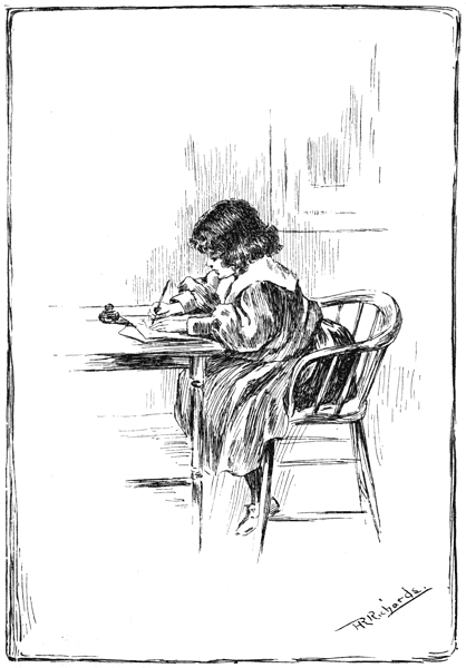 ink drawing of a girl in a pinafore sitting and writing with a fountain pen on a desk