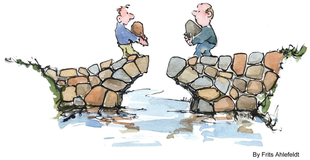 illustration of two guys putting last stones in the middle of a bridge from both sides