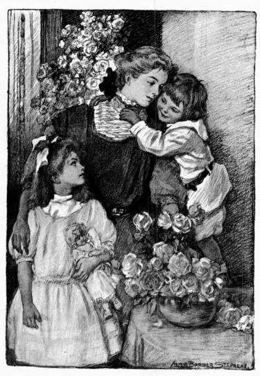 black and white illustration of 18th century woman hugged by young son and arm around older daughter holding a doll