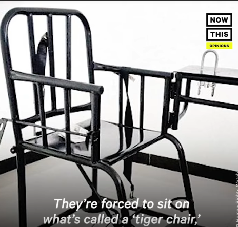 metal torture chair with straps for arms and legs