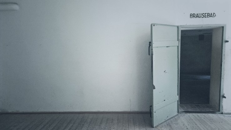 open doorway to a World War II era gas chamber