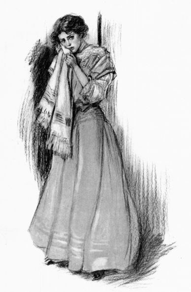 pencil drawing of woman in long dress holding cloth to her face