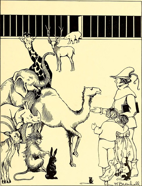 illustration of zoo animals and children and yeoman with book