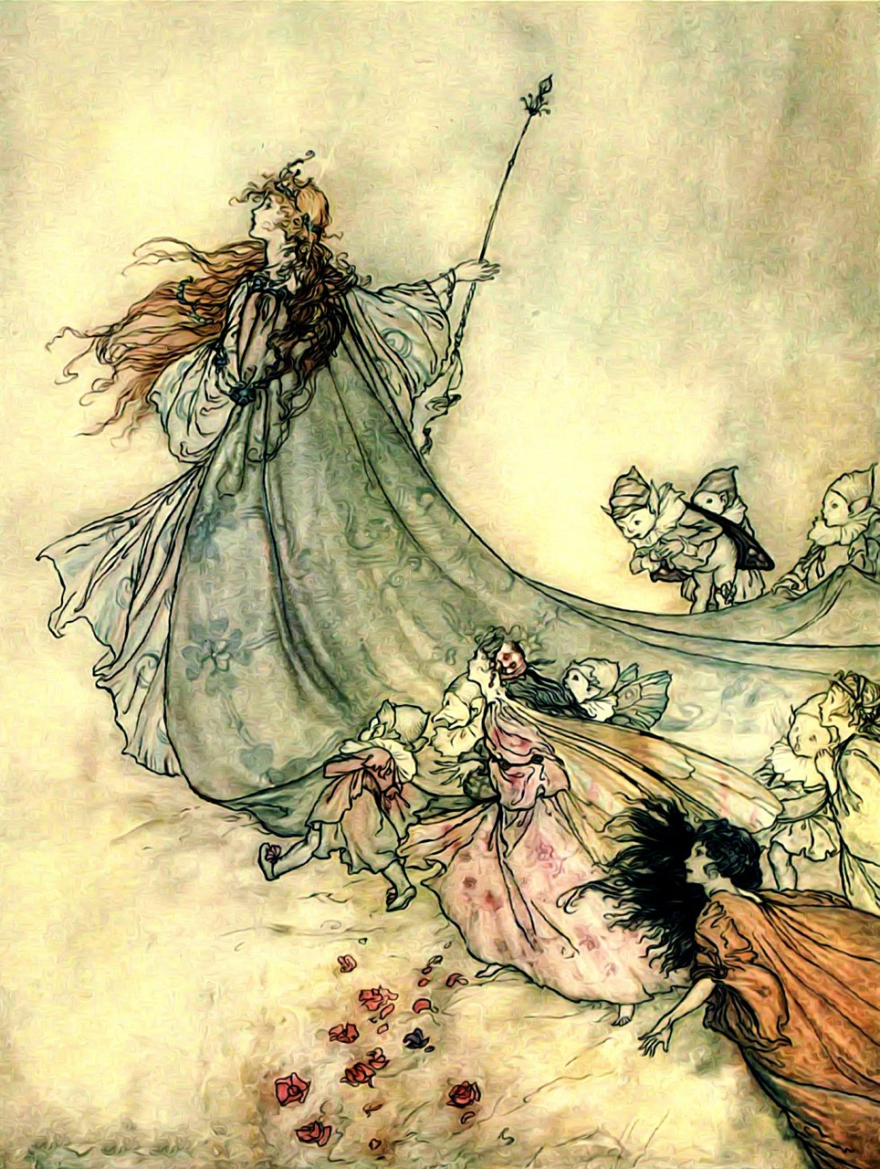 illustration of queen mab? leading fairies and pixies away