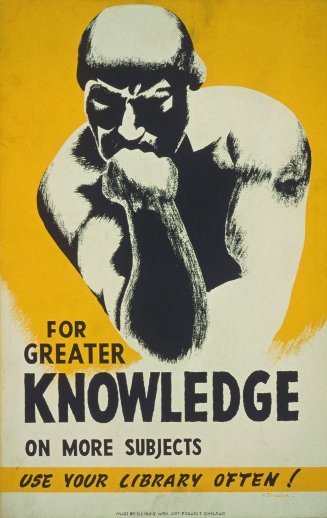 """1900s poster with illustration of sculpture """"The Thinker"""" and text: FOR GREATER KNOWLEDGE ON MORE SUBJECTS USE YOUR LIBRARY OFTEN!"""